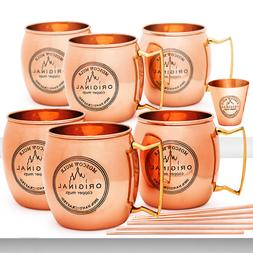 Moscow Mule Copper Mugs Set of 6 -100% HANDCRAFTED Food Safe
