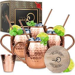 Moscow Mule Copper Mugs Set : 4 16 oz. Solid Genuine Copper