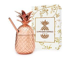 Moscow Mule Mug Copper Pineapple Tumbler Straw 12Oz Handcraf