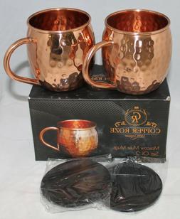Copper Roze Moscow Mule Mugs Set of 2 - 100% copper - 16 oz