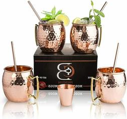Moscow Mule Mugs 100% Solid Copper, Hammered, Gift Set of 4,