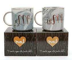 Luspan Mr and Mrs Couples Coffee Mugs Set - Gift for Bridal