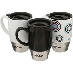 Mr. Coffee Couplet Travel Mug 15 oz with Lids, Stoneware Set
