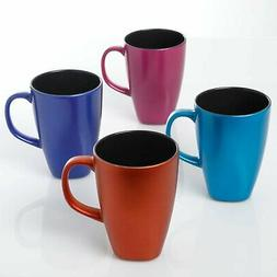 Mr. Coffee Luster Flare 4 Pack 16oz Mugs, Assorted Colors