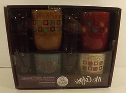 Mr. Coffee Mugs Café Americano with Spoons, NIB, 8 Pieces
