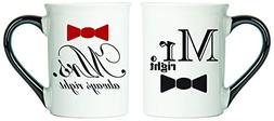 Mr. Right, Mrs.Always Right Mugs, Set Of Two Large Coffee Cu