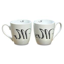 The Mrs and Mr, No, Big Mug Set of 2, White Porcelain, Black