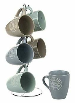Hds Trading MS44067 6 Pieces Mug Set With Stand Coffee - 12