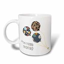 3dRose mug_162031_1 Happy 90Th Birthday Modern Stylish Flora