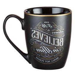 Mug - Whoever Believes in Him, Matte Black Gilded
