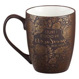 Mug - I Trust in God's Goodness, Brown Gilded
