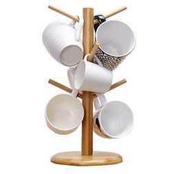 Mug Tree Holder 6 Cups Coffee Tea Cup Rack Wooden Storage St