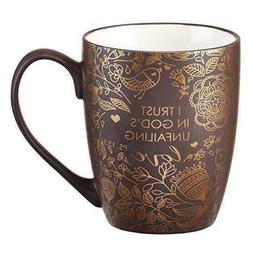 Mug - I Trust in God's Unfailing Love Matte Brown Gilded by
