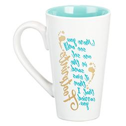 Mug - Footprints In The Sand, White With Teal Interior