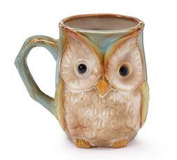 New Burton & Burton Mug Owl In Blue/Green Colors