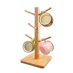 Cuteadoy Mug Rack Tree, Removable Bamboo Mug Stand, Storage