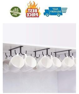 Mug Rack Under Cabinet - Coffee Cup Holder, 12 Mugs Hooks Un