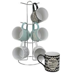 "Home Basics ""It's Coffee Time"" 6 Piece Mug Set With Stand, M"