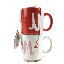 Hallmark Mug Set Me & U Stacking Coffee Mugs Red And White L