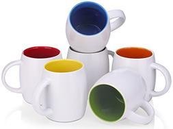 DOWAN 14 Ounce Mug Sets for Coffee/Tea/Cocoa, 6 Piece White
