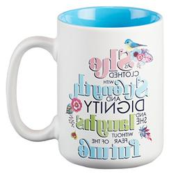 Mug - She Is Clothed With Strength, White With Blue Interior