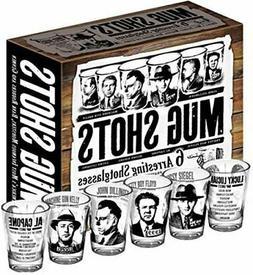 Mug Shots - 6 Piece Shot Glass Set of Famous Gangster Mugsho