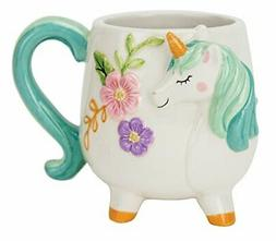 Boston Warehouse Mug, Turquoise Unicorn Collection, 18oz Cap