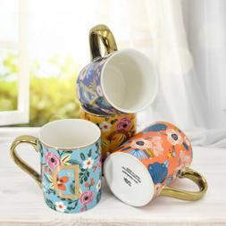 Mugs Set of 4 12oz Floral Mugs Coffee Cups for Coffee Tea Co