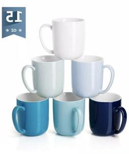 Sweese Mugs Set Of 6 Porcelain Mugs Blues 15oz NEW