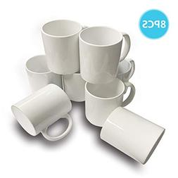 8 PCS Mugs 11 OZ Sublimation Mugs Blank White Mugs Coated Ce