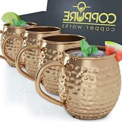 Moscow Mule Copper Mugs - Pure 100% Solid Hammered, Unlined