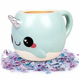 Narwhal, Unicorn of the Sea Coffee Mug - 18 oz Glitter Galax