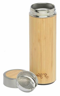 Natural Bamboo Travel Mug Stainless Steel Tea Infuser Hot or
