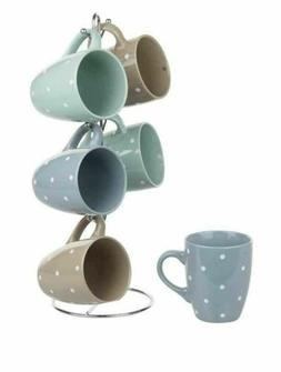 Home Basics NEW 12oz Mugs Polka Dot Spotted Earthtone Tree 6
