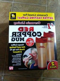 New RED COPPER MUG 2 PACK Ceramic lined for better tasting c