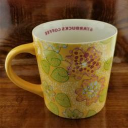 New 2005 STARBUCKS Yellow Spring Flowers Coffee Mug 16 oz.
