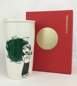 NEW Starbucks 2015 Boy Finger Painting Dot Ceramic Travel Tu