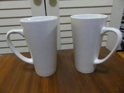 New 2pcs Plain Tall White Coffee Mugs Craft Project For Gift