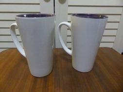 New 2pcs Plain Tall White with Purple Inside Coffee Mugs Cra