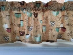 NEW Coffee Latte Espresso Cups & Saucers Mugs Fabric Valance
