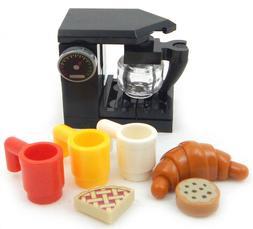 NEW LEGO COFFEE MAKER + croissant mugs food minifig minifigu