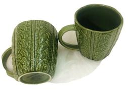 NEW Opalhouse Coffee MUG SET OF TWO 13oz Tea Cups GREEN Embo
