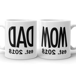 New DAD MOM Est 2018 Coffee Mug Tea Cup Expectant Parent Gif