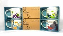 NEW Starbucks Disney World Mug Set of 4 Ceramic 14oz Mugs -