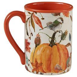 New Fall Thanksgiving HARVEST SQUIRREL BIRD PUMPKIN MUG Hone