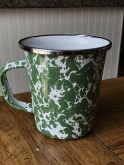 Golden Rabbit •NEW• Green Swirl 16 Oz Enamelware Latte M