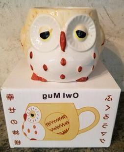 New In Box Owl Mug. Burgundy and Beige. Coffee Cup OWLS Kitc