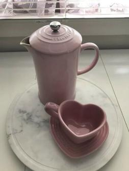 New In Box Le Creuset Satin Pink Heart Shaped Cup Mug & Sauc
