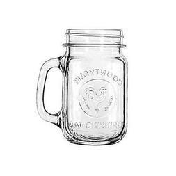 NEW! Libbey 'County Fair' Mason Style Glass Drinking Jar wit