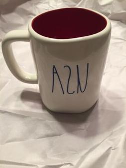 New Rae Dunn USA Fourth  of July Mug Red Interior Blue Writi